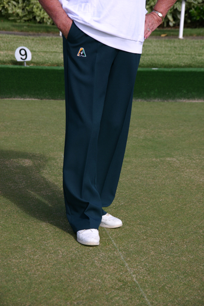 Domino for lawn bowls club customised shirts, slacks and other apparel