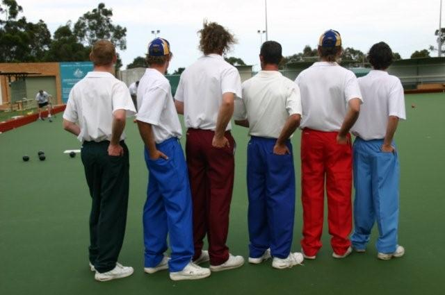 Domino for mens lawn bowls club coloured pants, vests other apparel